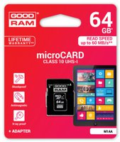 Goodram Micro SD + Adapter 64GB Class10 UHS I